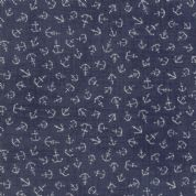 Moda - Ahoy Me Hearties by Janet Clare - 5708 - Anchors on Faded Blue - 1433 12 - Cotton Fabric